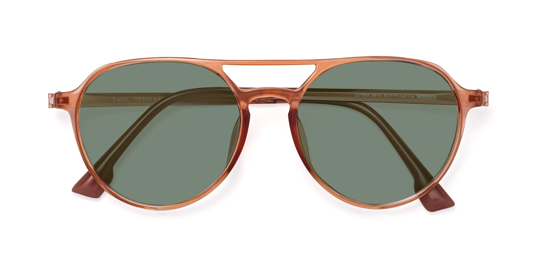 Folded Front of Louis in Coral with Medium Green Tinted Lenses