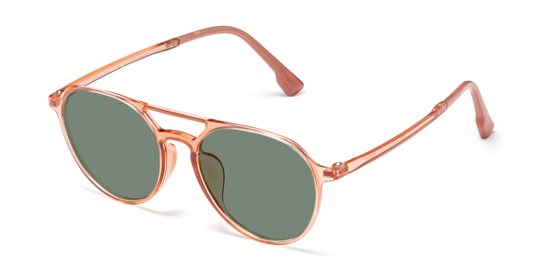 Angle of Louis in Coral with Medium Green Tinted Lenses