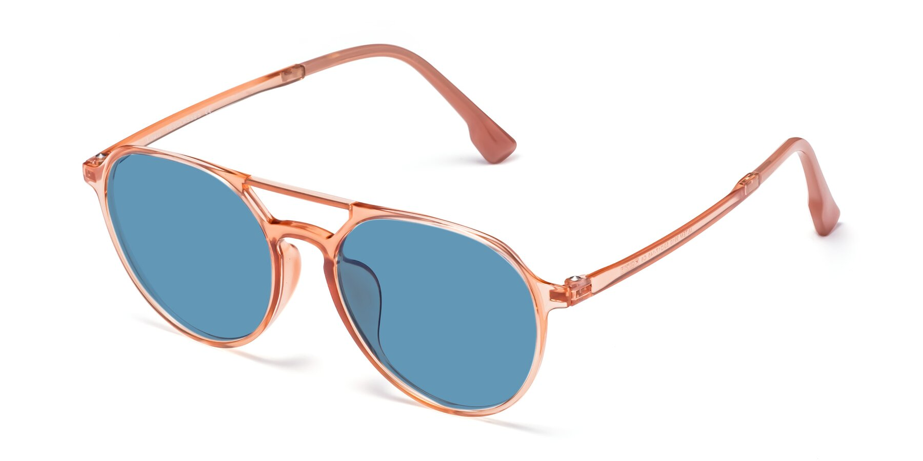 Angle of Louis in Coral with Medium Blue Tinted Lenses