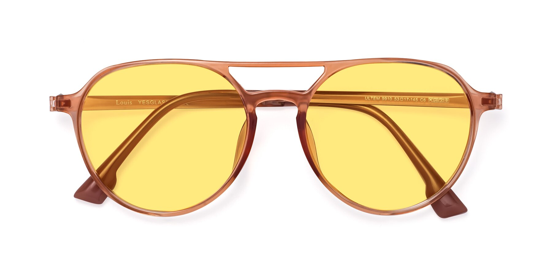 Folded Front of Louis in Coral with Medium Yellow Tinted Lenses