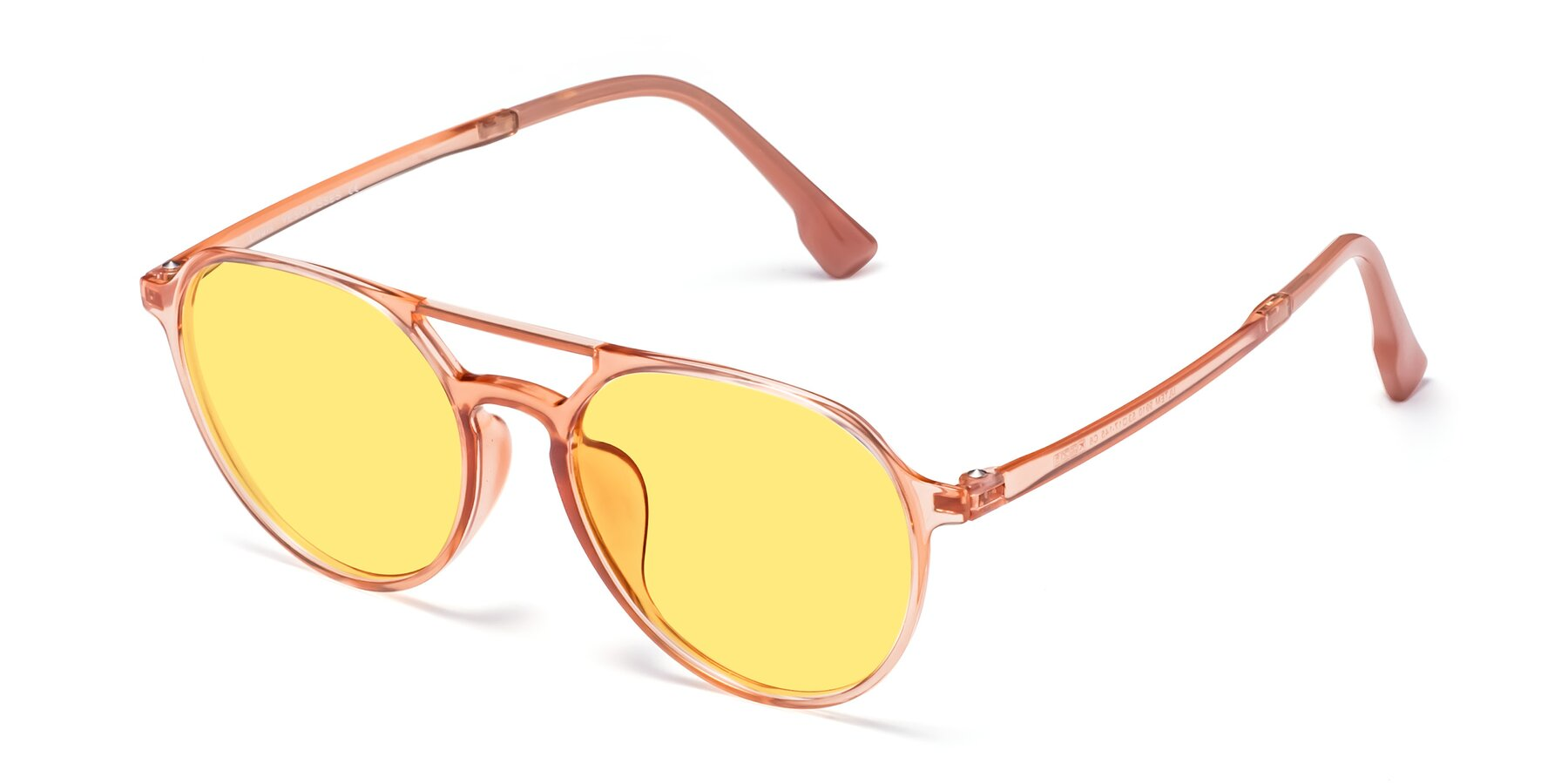 Angle of Louis in Coral with Medium Yellow Tinted Lenses