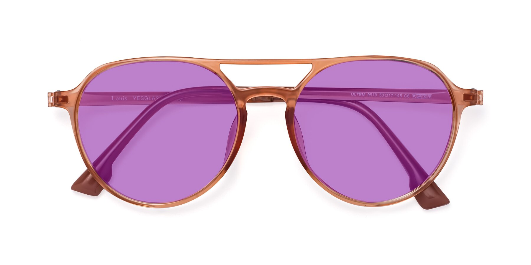 Folded Front of Louis in Coral with Medium Purple Tinted Lenses