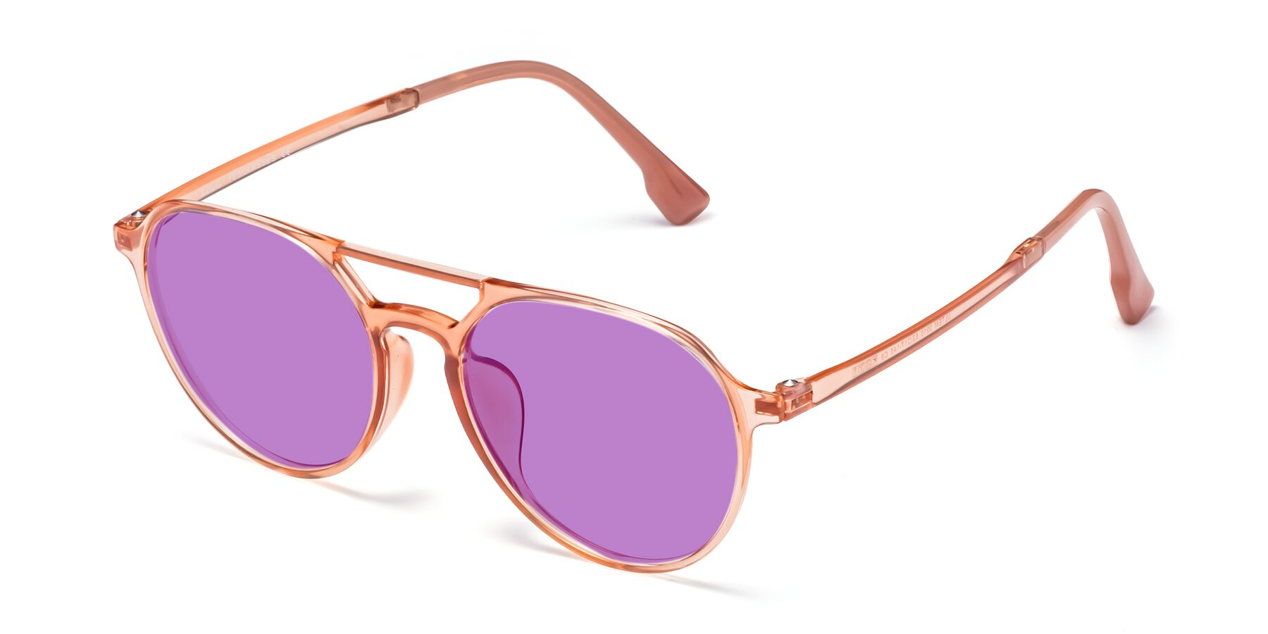 Angle of Louis in Coral with Medium Purple Tinted Lenses