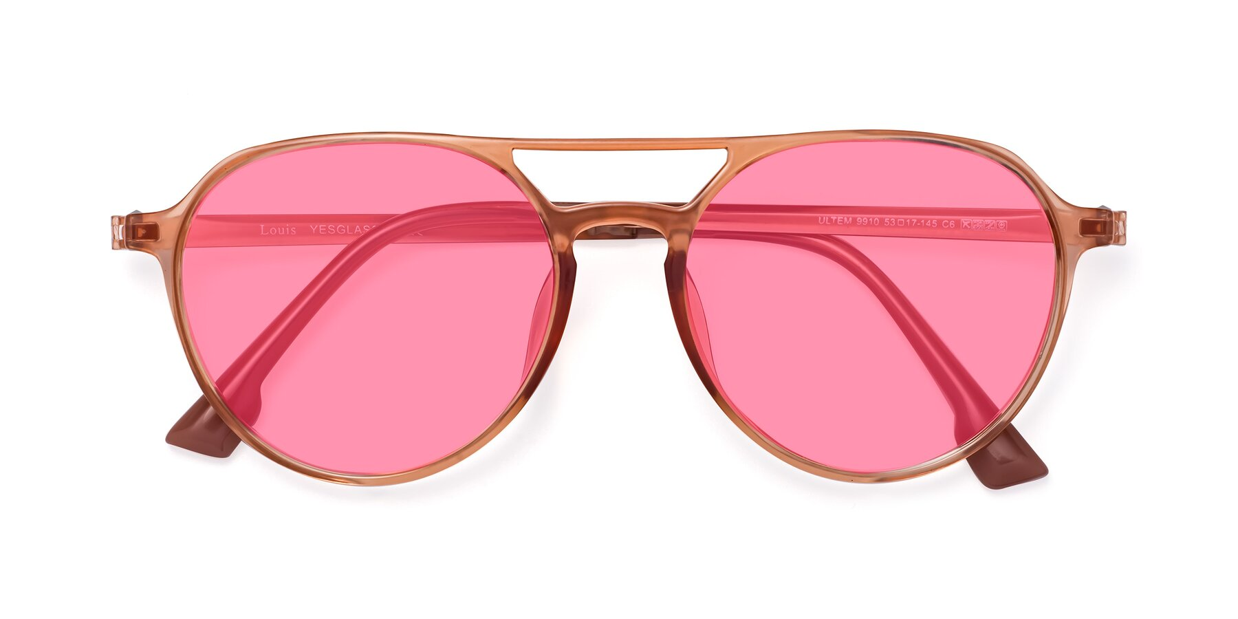 Folded Front of Louis in Coral with Pink Tinted Lenses
