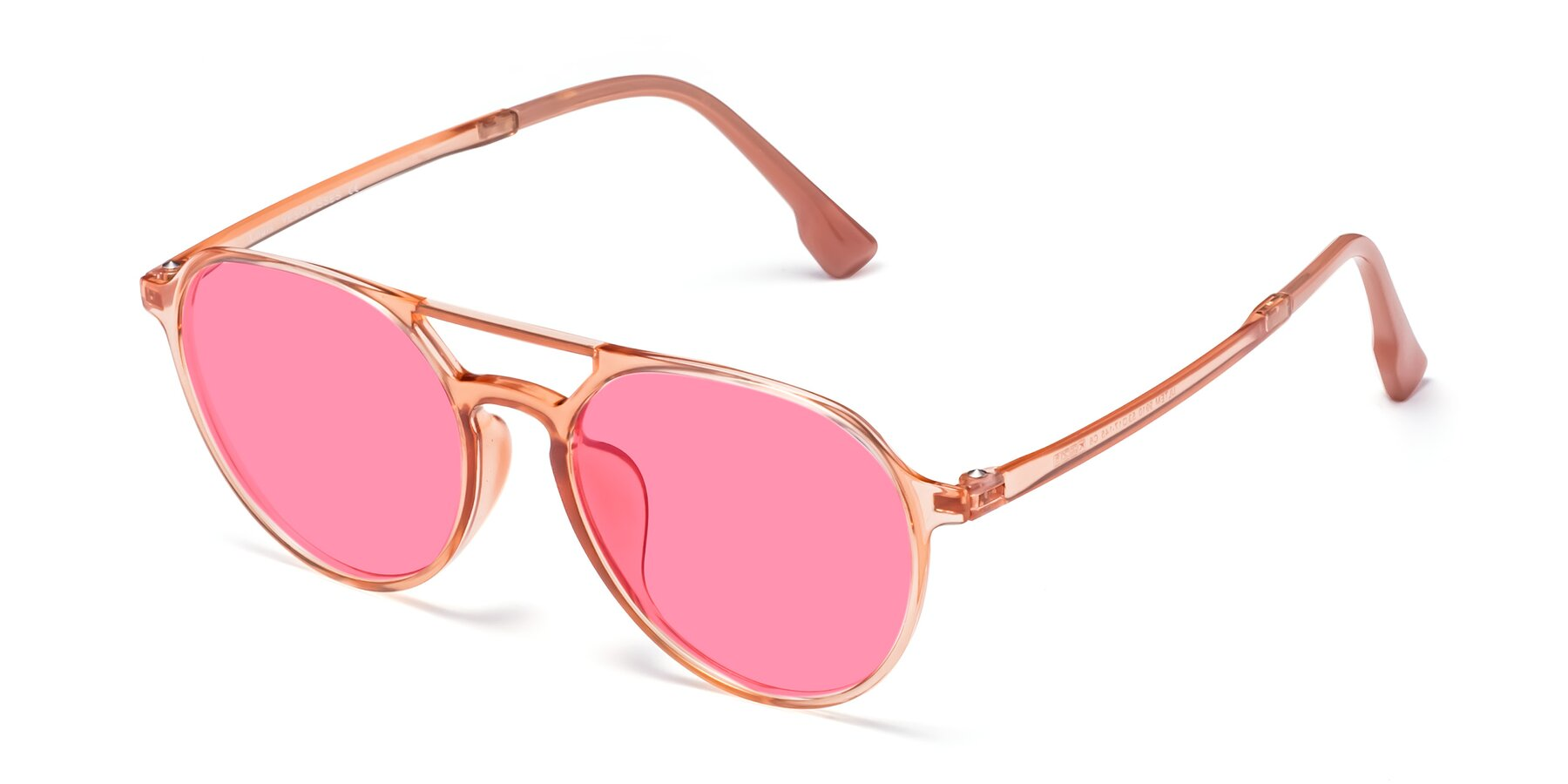 Angle of Louis in Coral with Pink Tinted Lenses