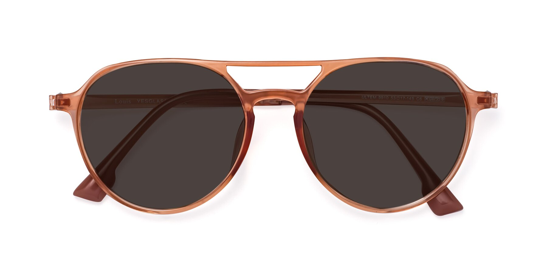 Folded Front of Louis in Coral with Gray Tinted Lenses