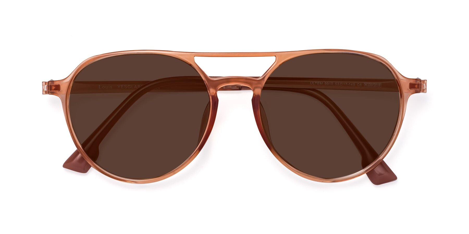 Folded Front of Louis in Coral with Brown Tinted Lenses