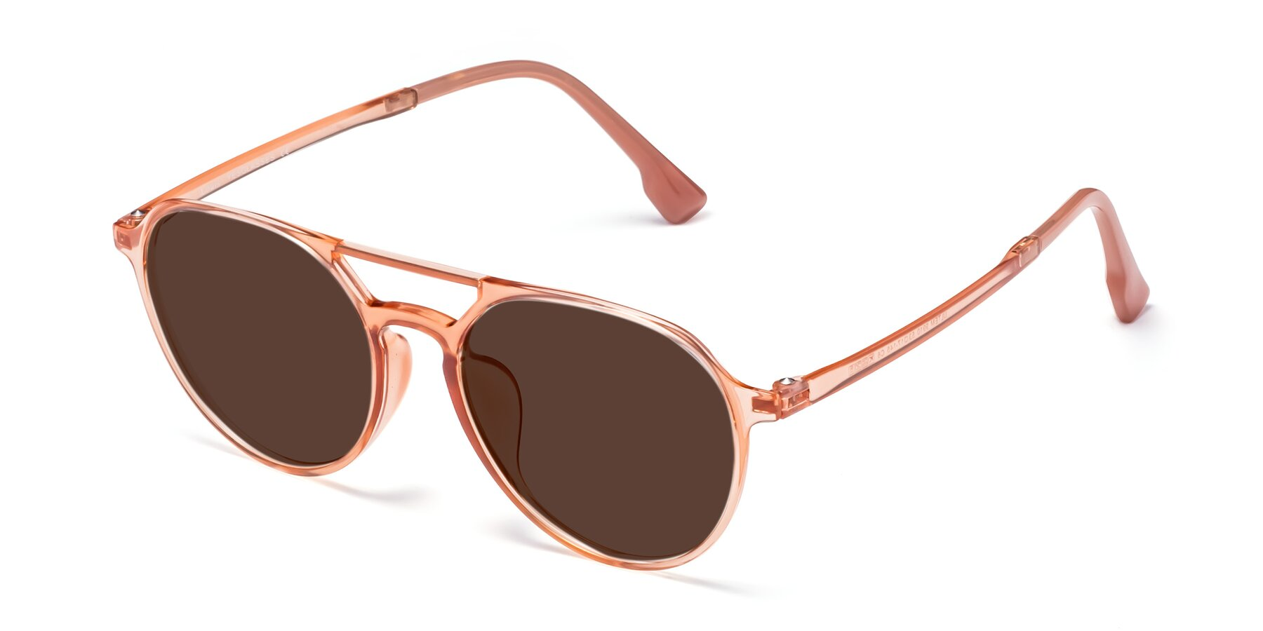 Angle of Louis in Coral with Brown Tinted Lenses
