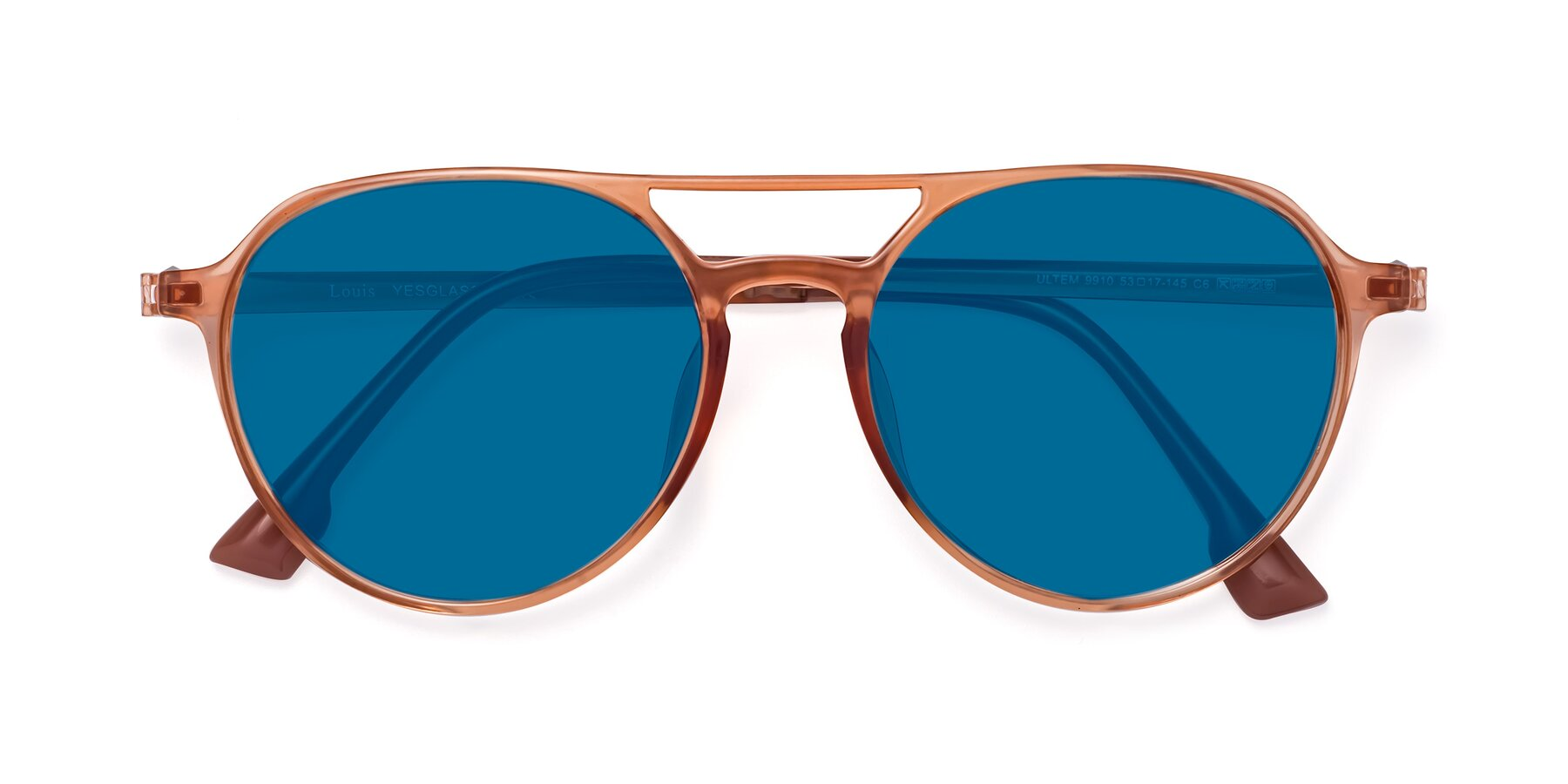 Folded Front of Louis in Coral with Blue Tinted Lenses