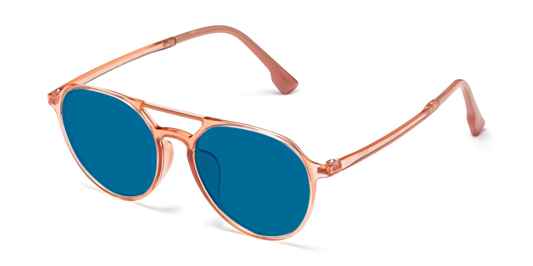 Angle of Louis in Coral with Blue Tinted Lenses