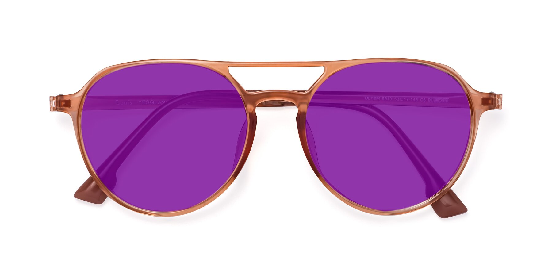 Folded Front of Louis in Coral with Purple Tinted Lenses