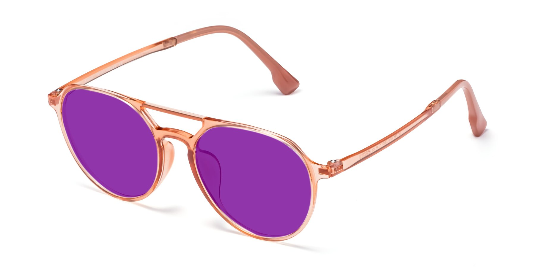 Angle of Louis in Coral with Purple Tinted Lenses