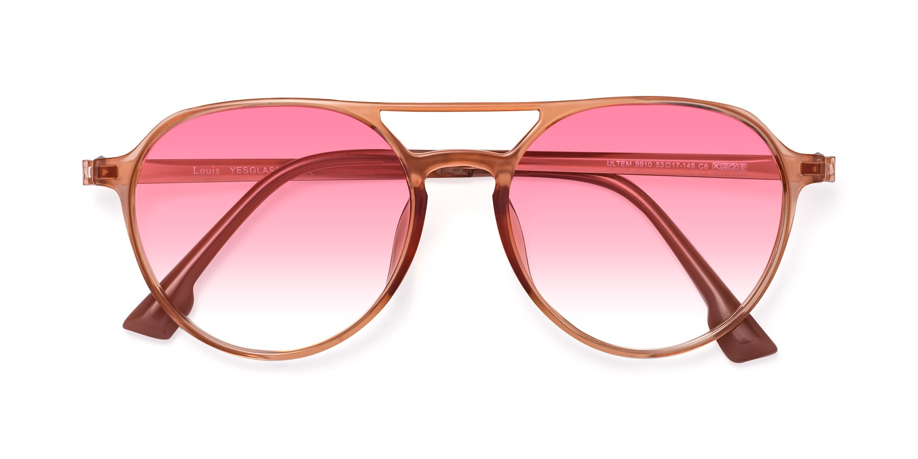 Folded Front of Louis in Coral with Pink Gradient Lenses