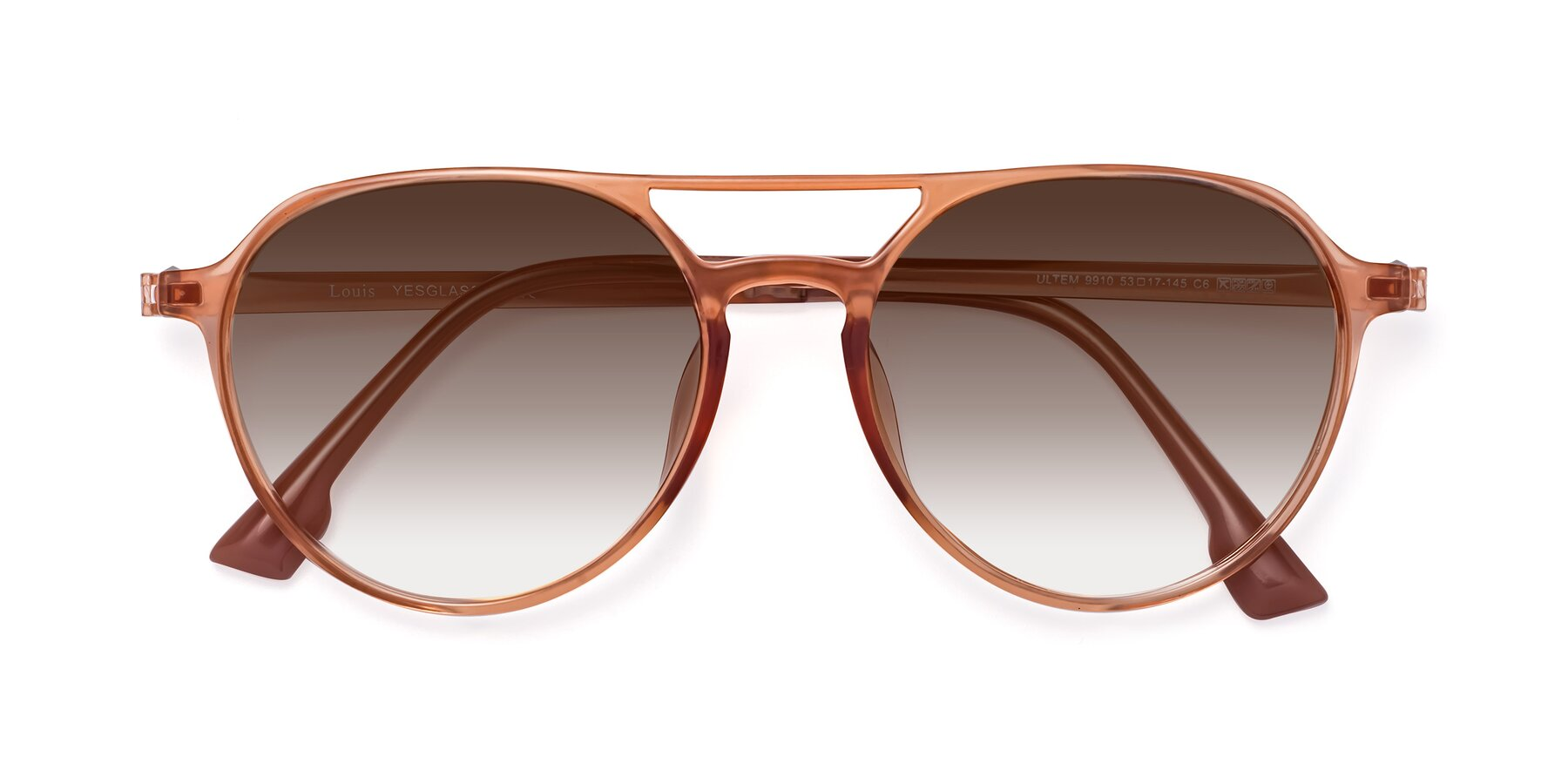 Folded Front of Louis in Coral with Brown Gradient Lenses