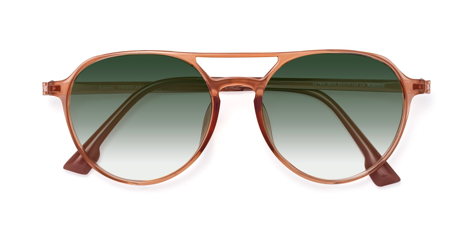 Folded Front of Louis in Coral with Green Gradient Lenses
