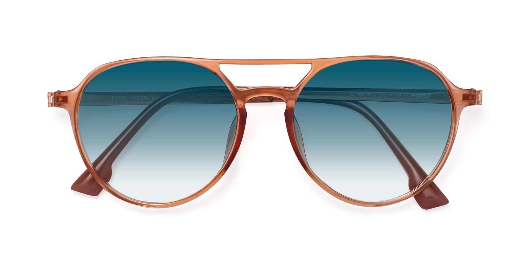 Folded Front of Louis in Coral with Blue Gradient Lenses