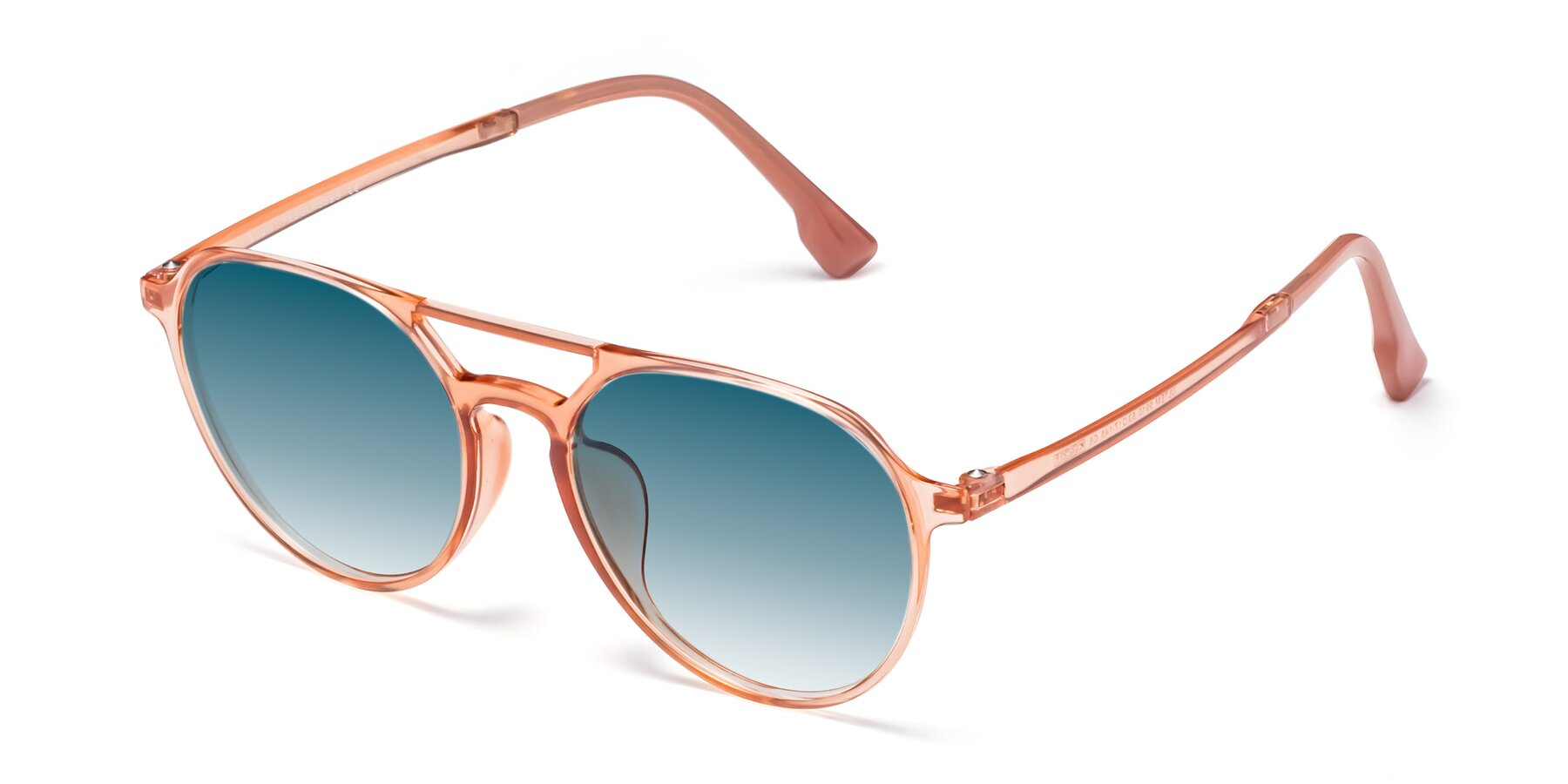 Angle of Louis in Coral with Blue Gradient Lenses