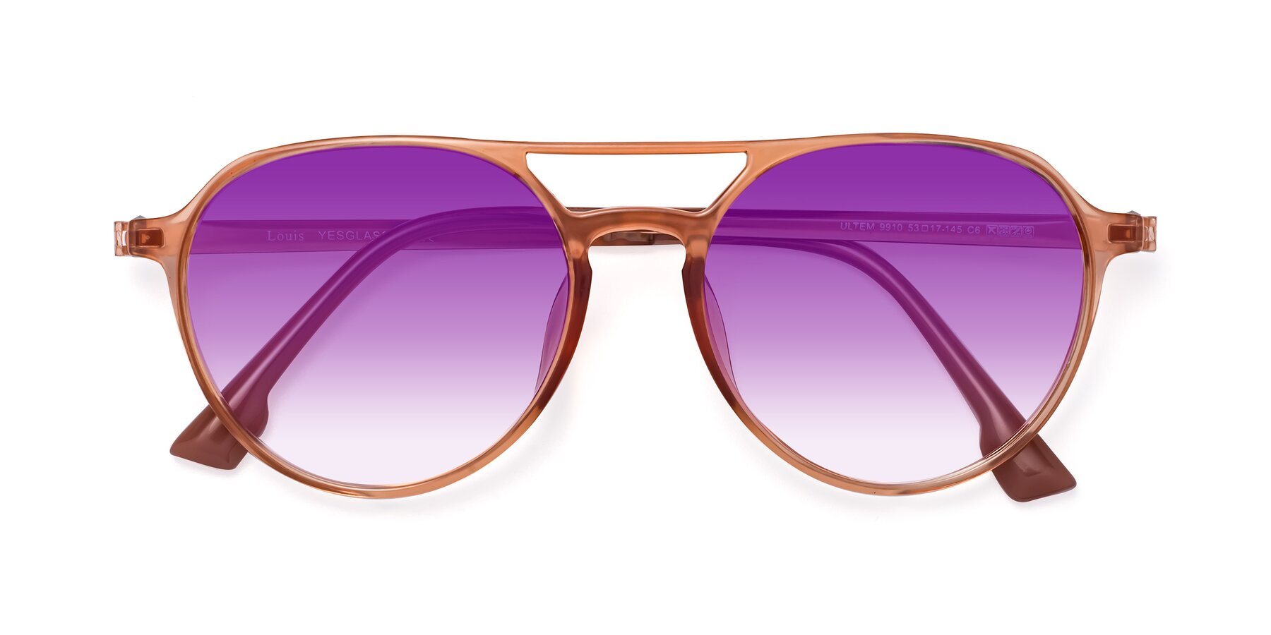 Folded Front of Louis in Coral with Purple Gradient Lenses