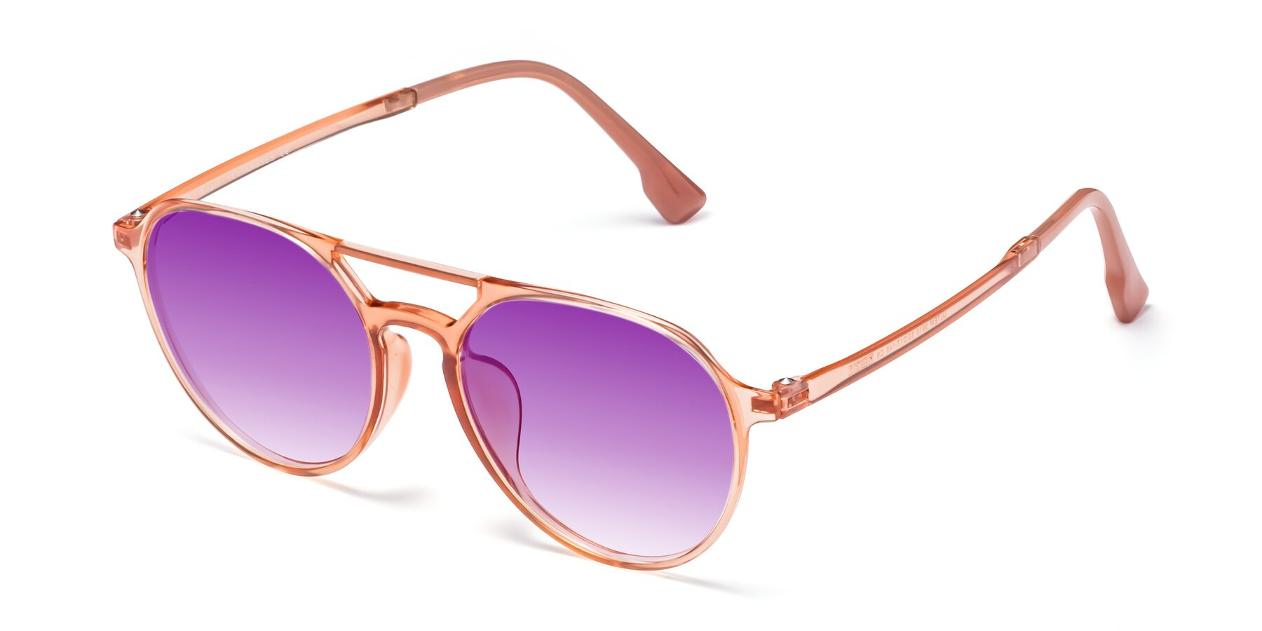 Angle of Louis in Coral with Purple Gradient Lenses