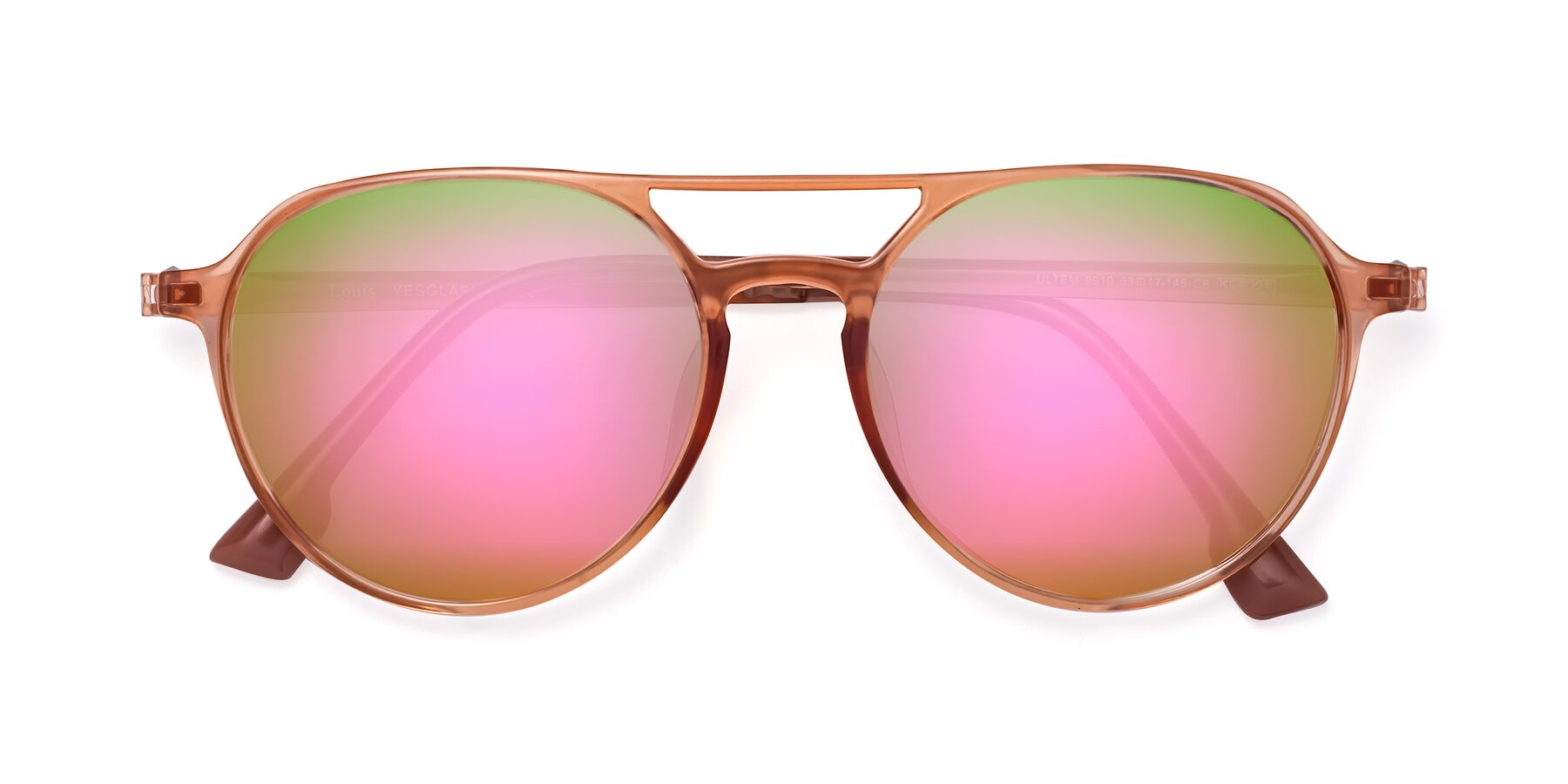 Folded Front of Louis in Coral with Pink Mirrored Lenses