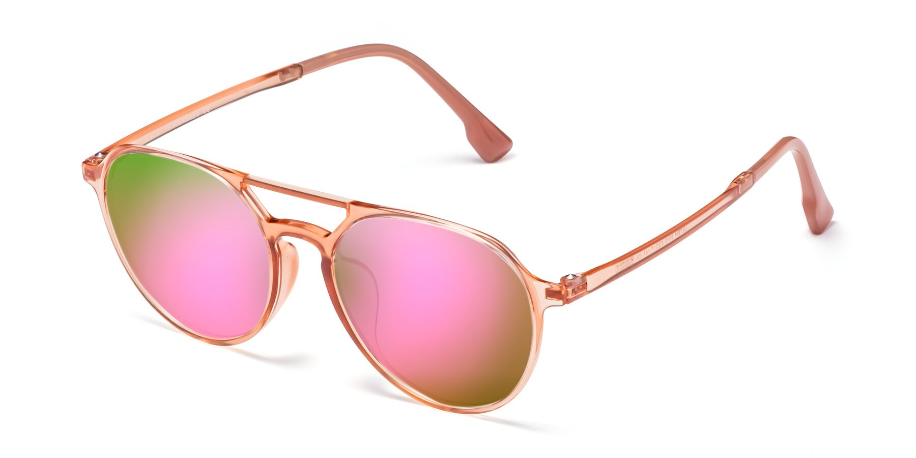 Angle of Louis in Coral with Pink Mirrored Lenses
