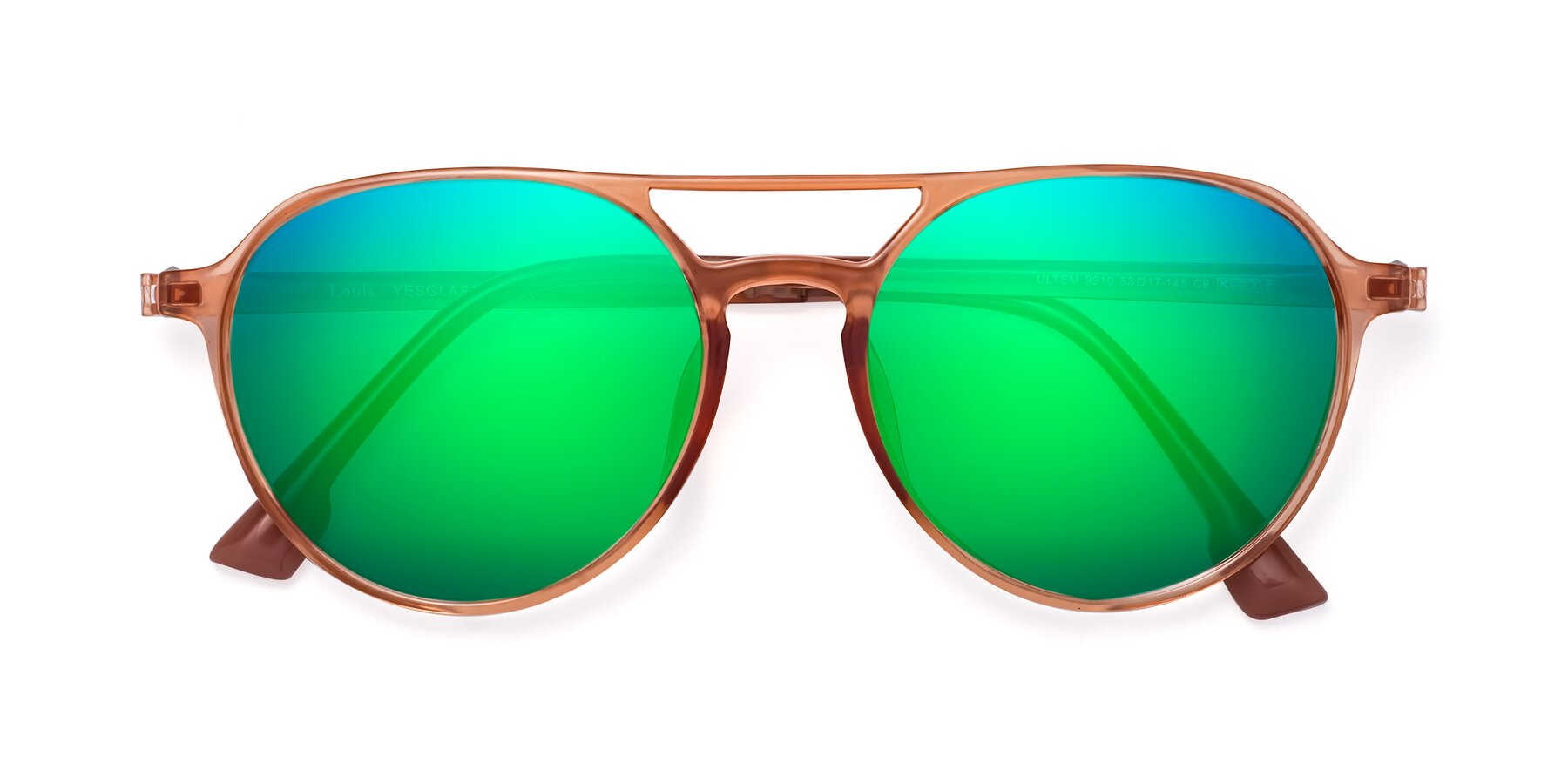 Folded Front of Louis in Coral with Green Mirrored Lenses