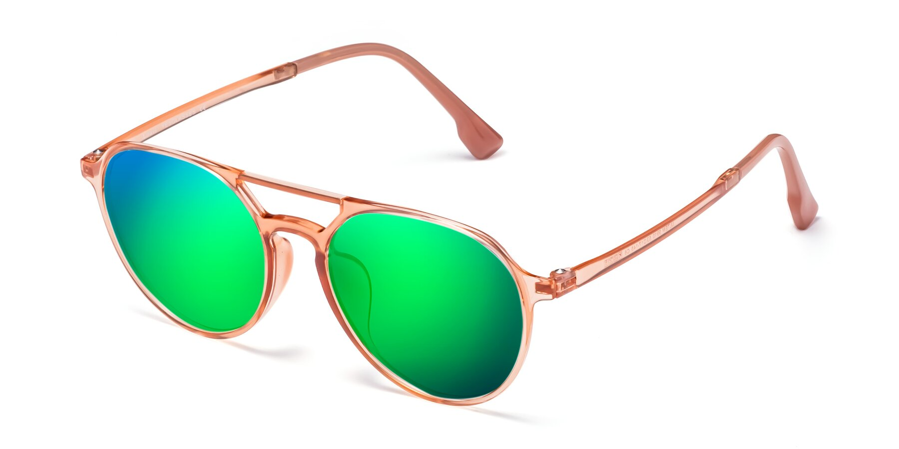 Angle of Louis in Coral with Green Mirrored Lenses
