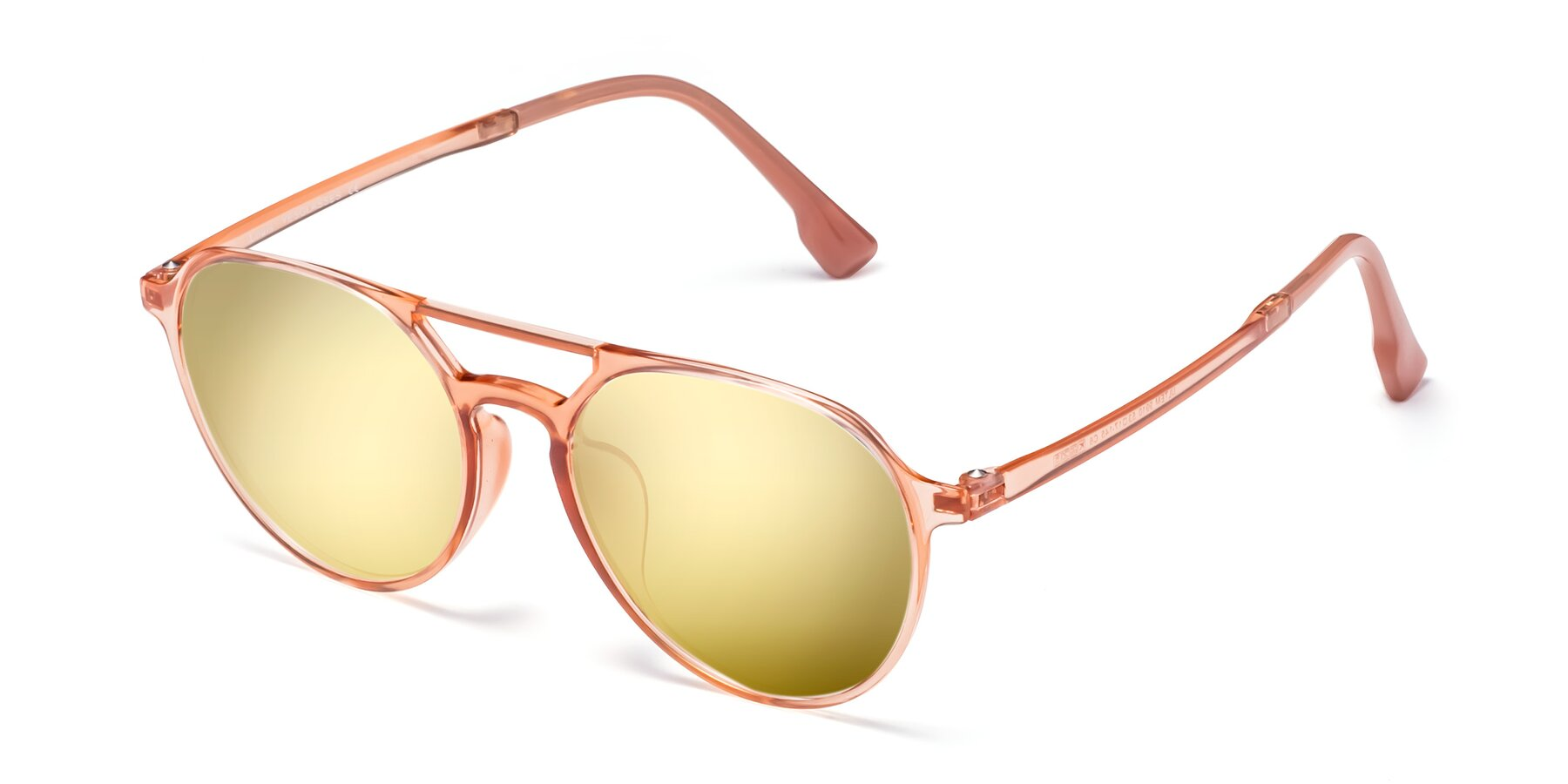 Angle of Louis in Coral with Gold Mirrored Lenses