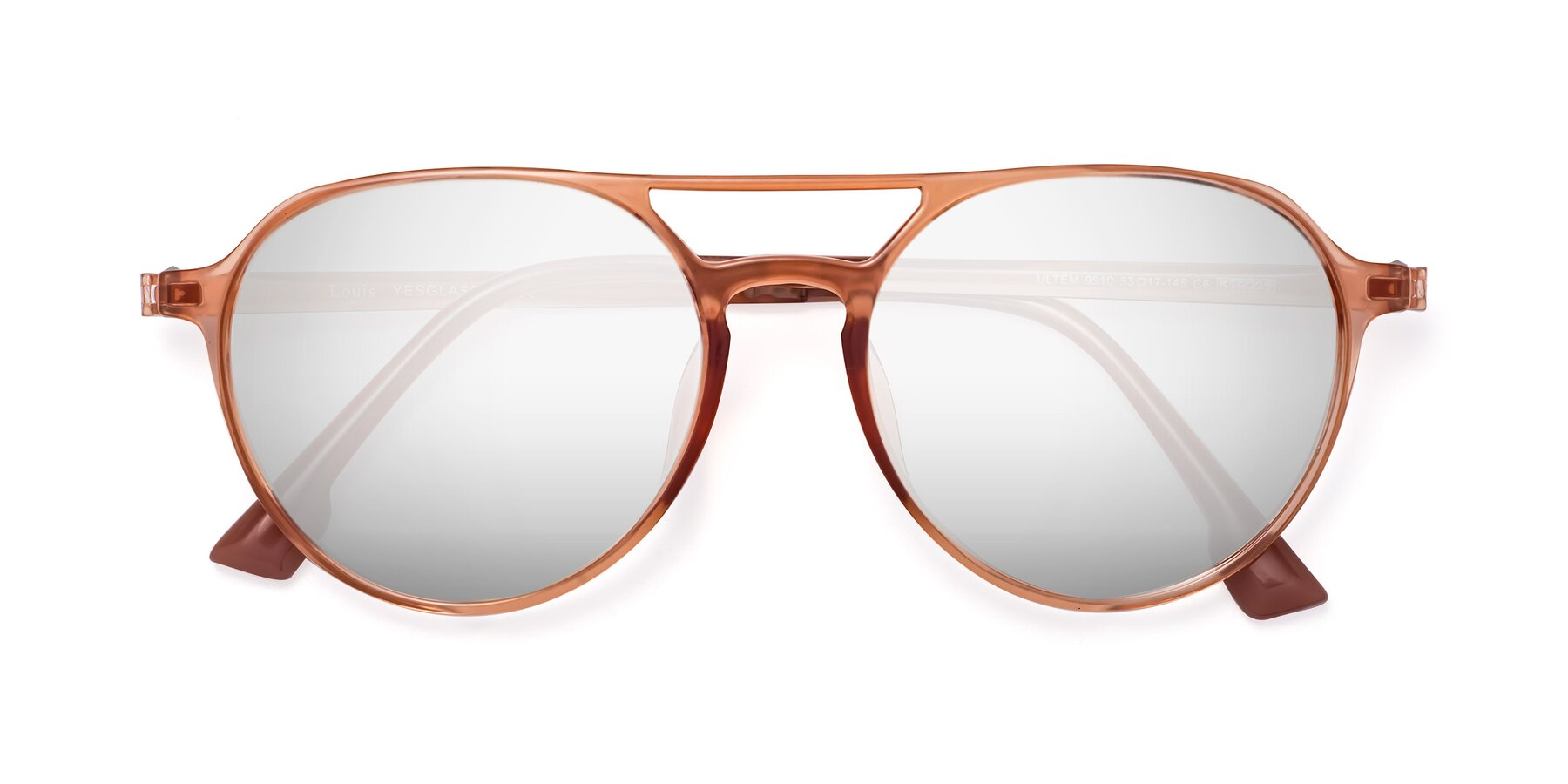 Folded Front of Louis in Coral with Silver Mirrored Lenses