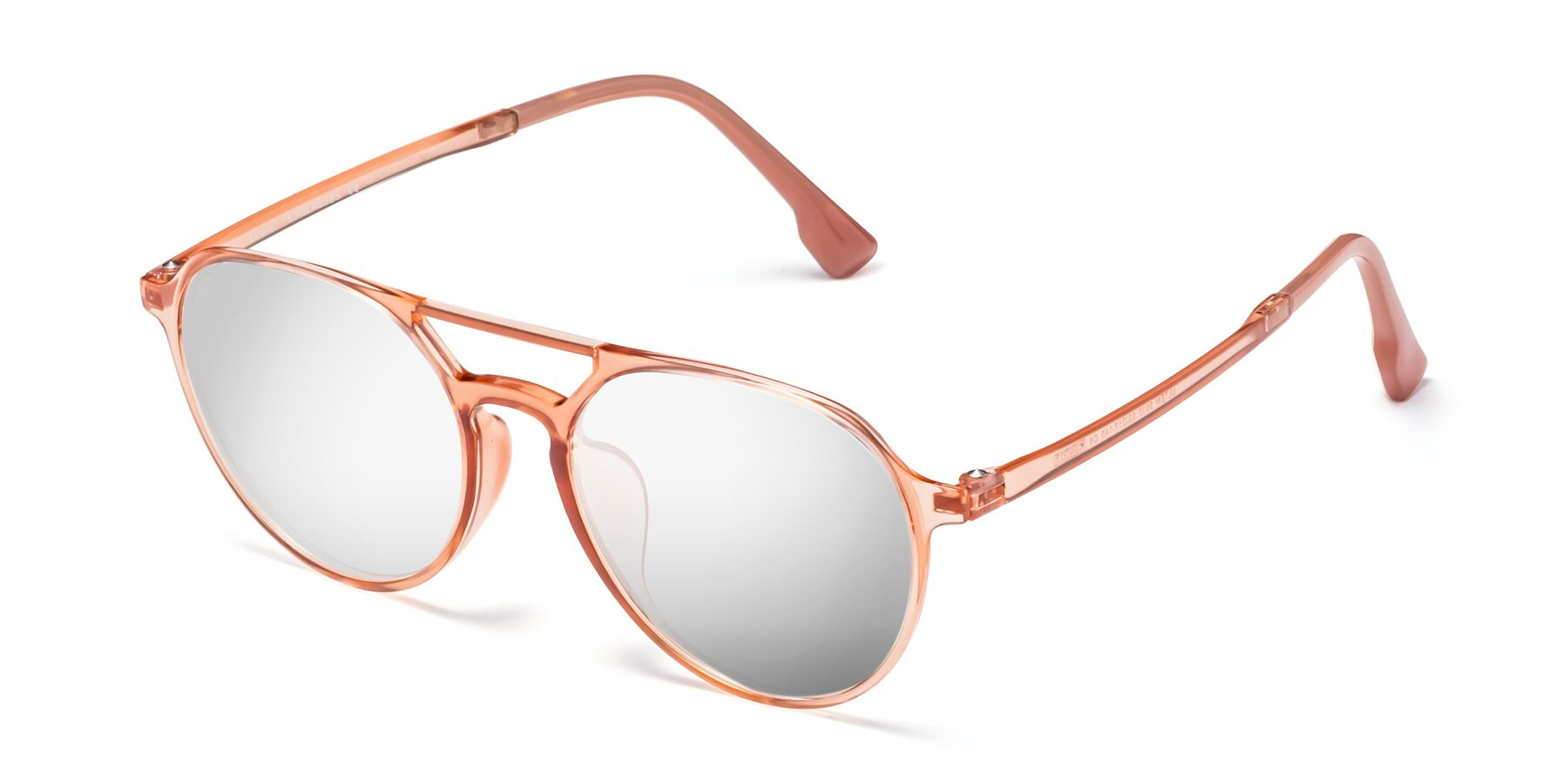 Angle of Louis in Coral with Silver Mirrored Lenses