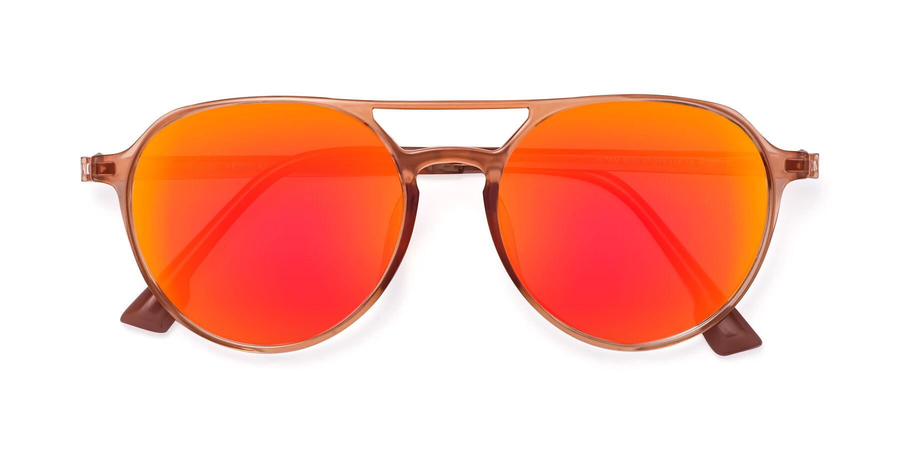 Folded Front of Louis in Coral with Red Gold Mirrored Lenses