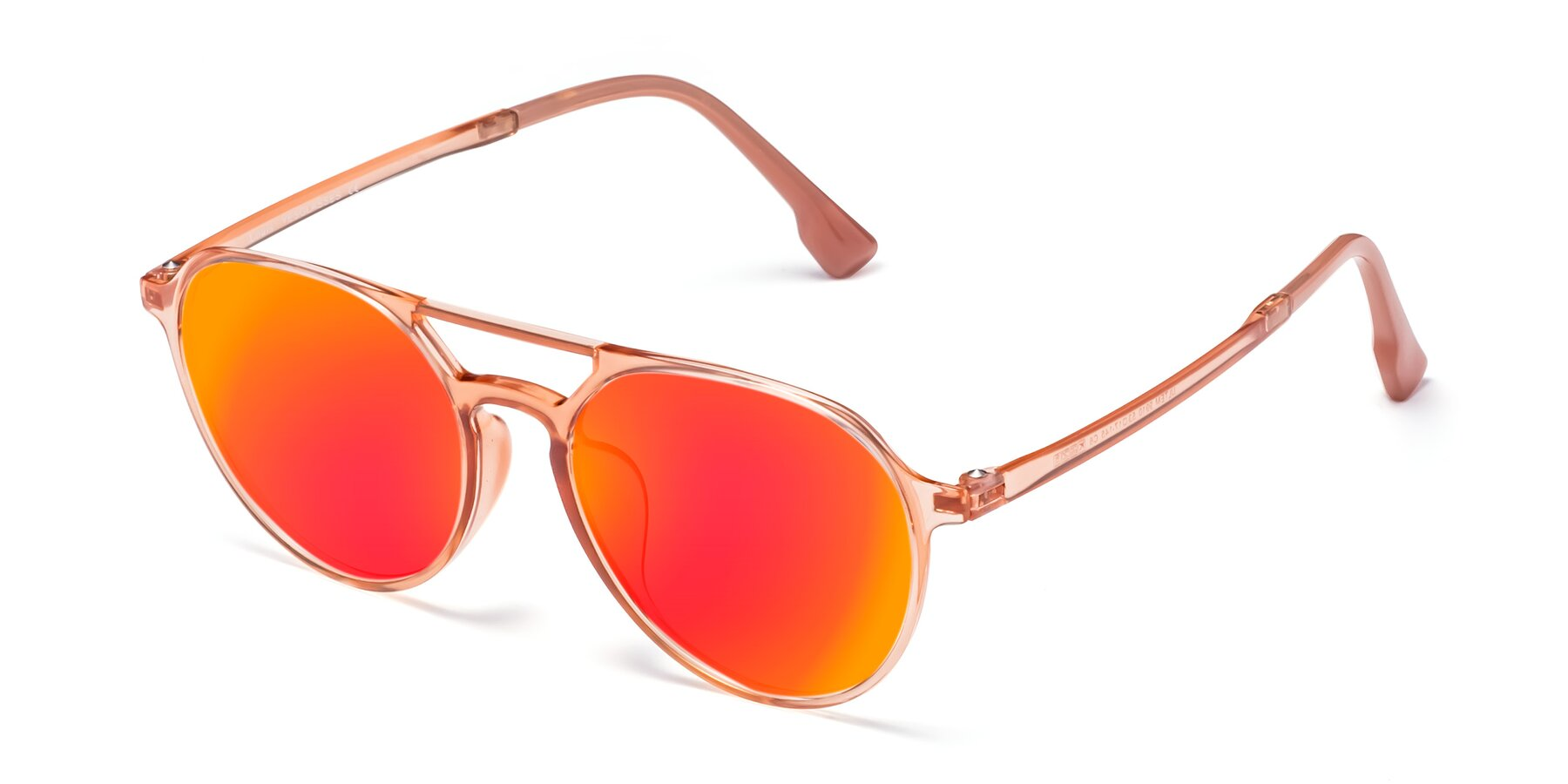 Angle of Louis in Coral with Red Gold Mirrored Lenses