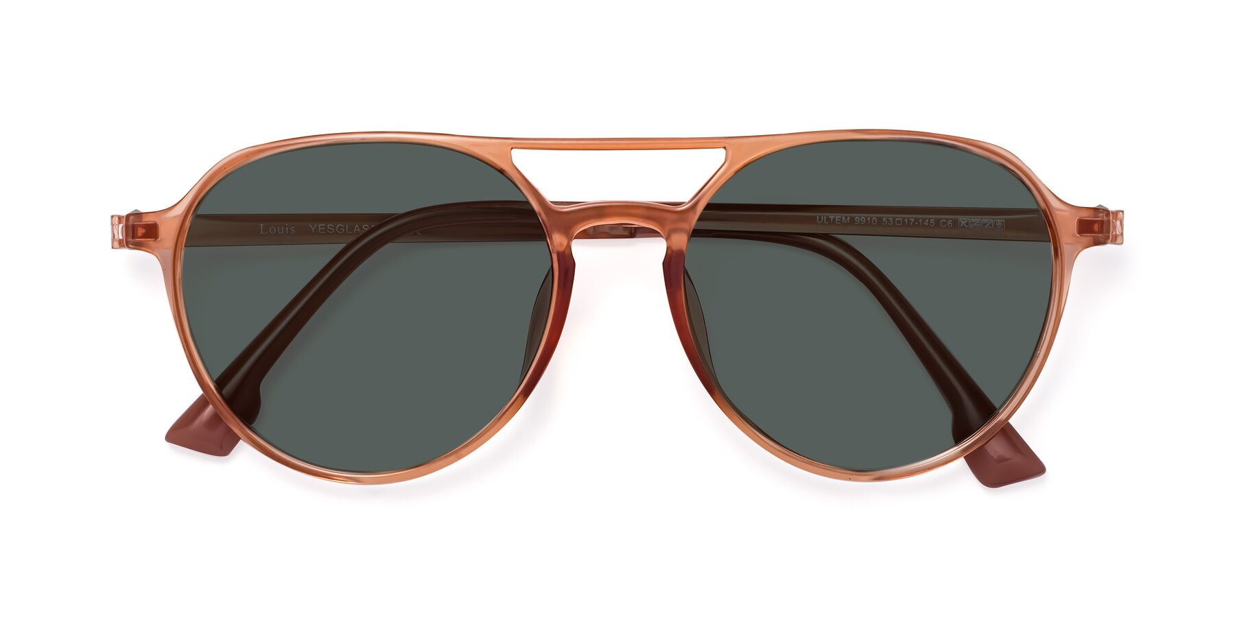 Folded Front of Louis in Coral with Gray Polarized Lenses