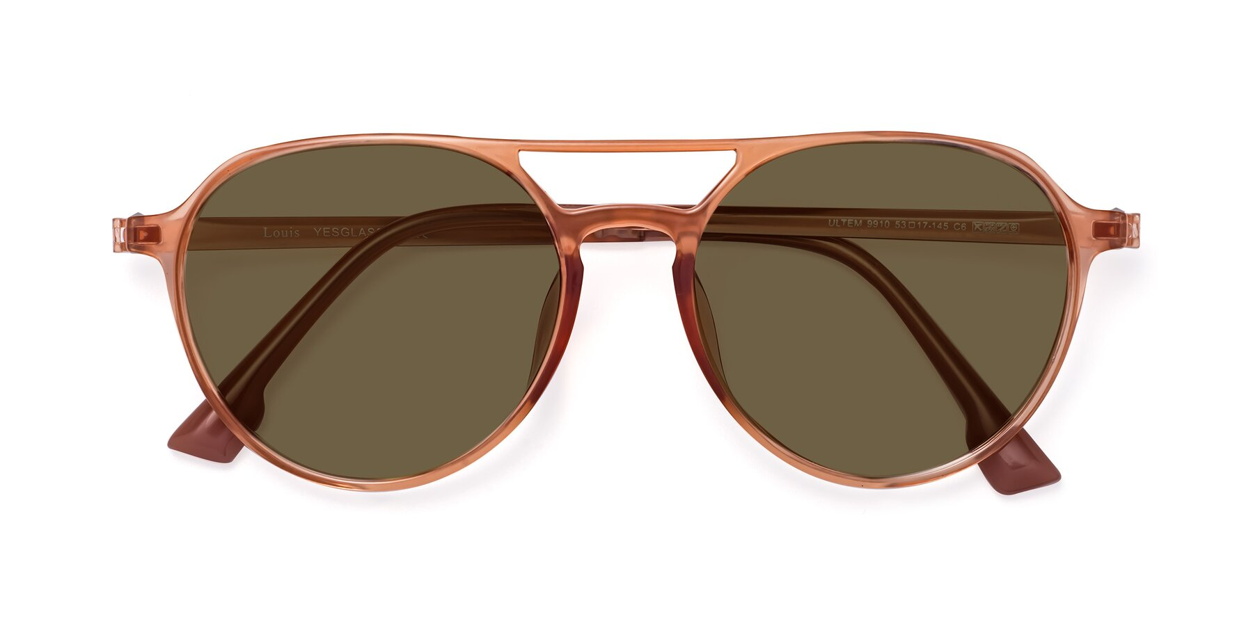 Folded Front of Louis in Coral with Brown Polarized Lenses
