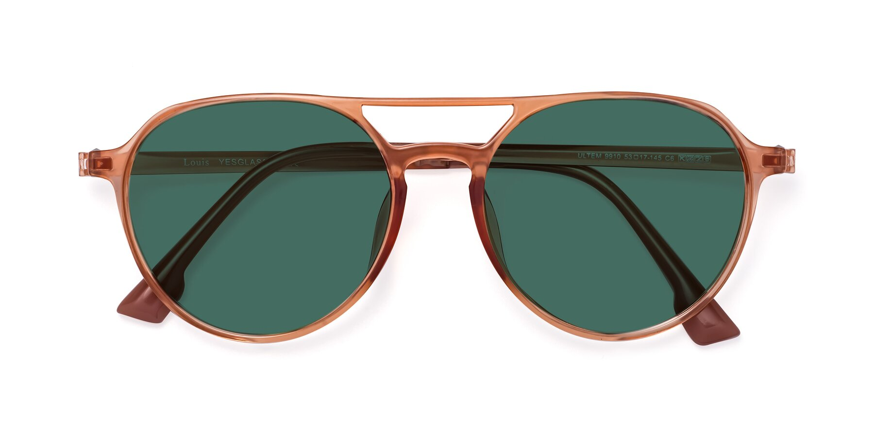 Folded Front of Louis in Coral with Green Polarized Lenses