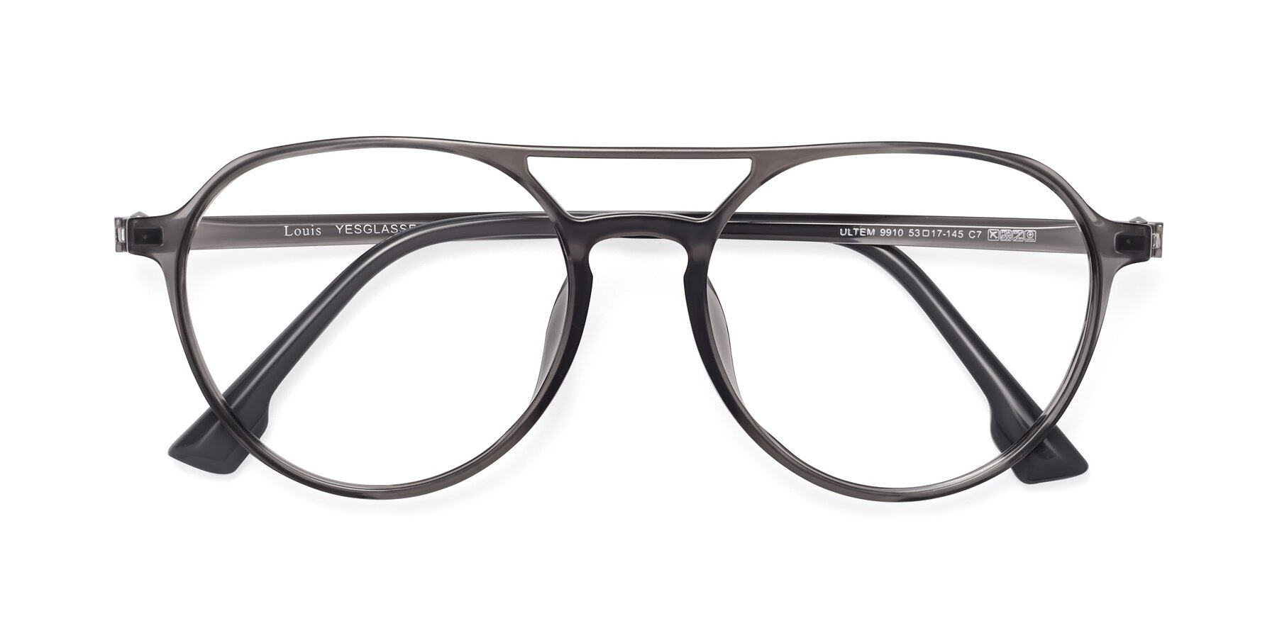 Folded Front of Louis in Gray with Clear Blue Light Blocking Lenses