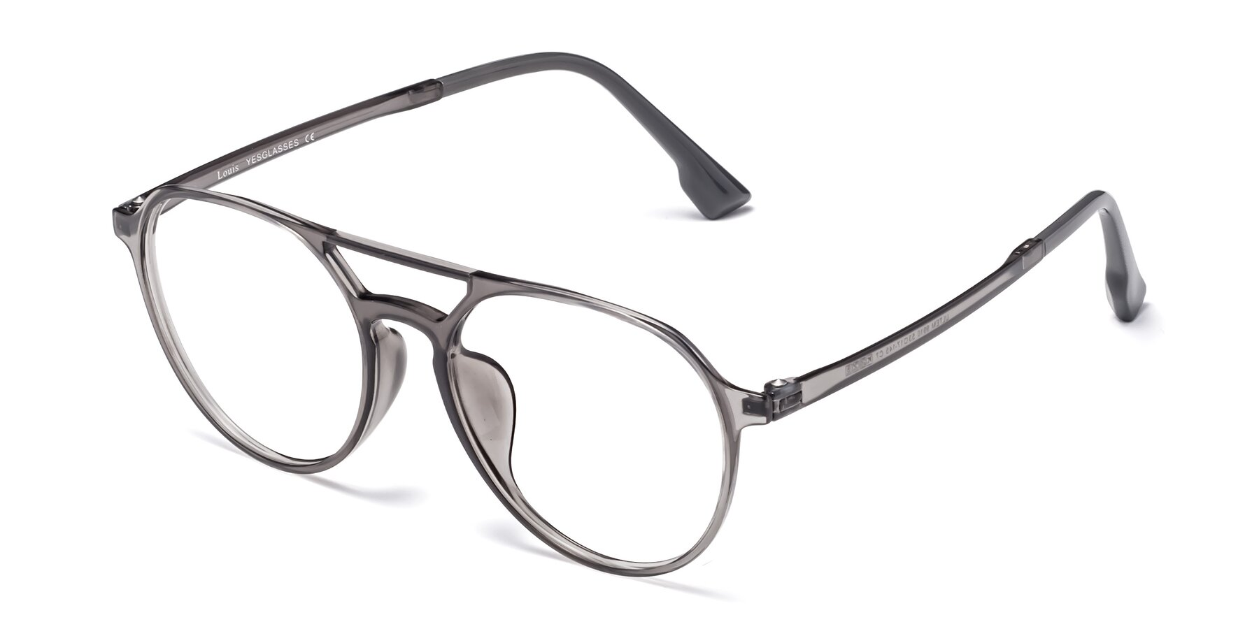 Angle of Louis in Gray with Clear Blue Light Blocking Lenses