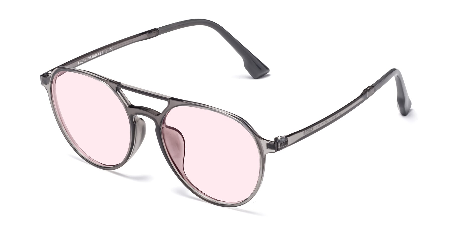 Angle of Louis in Gray with Light Pink Tinted Lenses