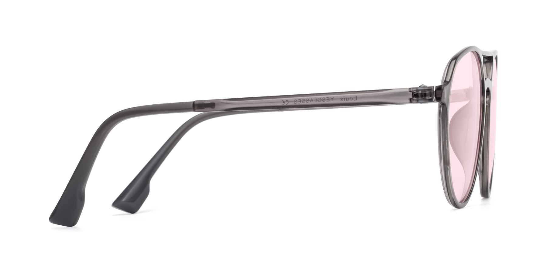 Side of Louis in Gray with Light Pink Tinted Lenses
