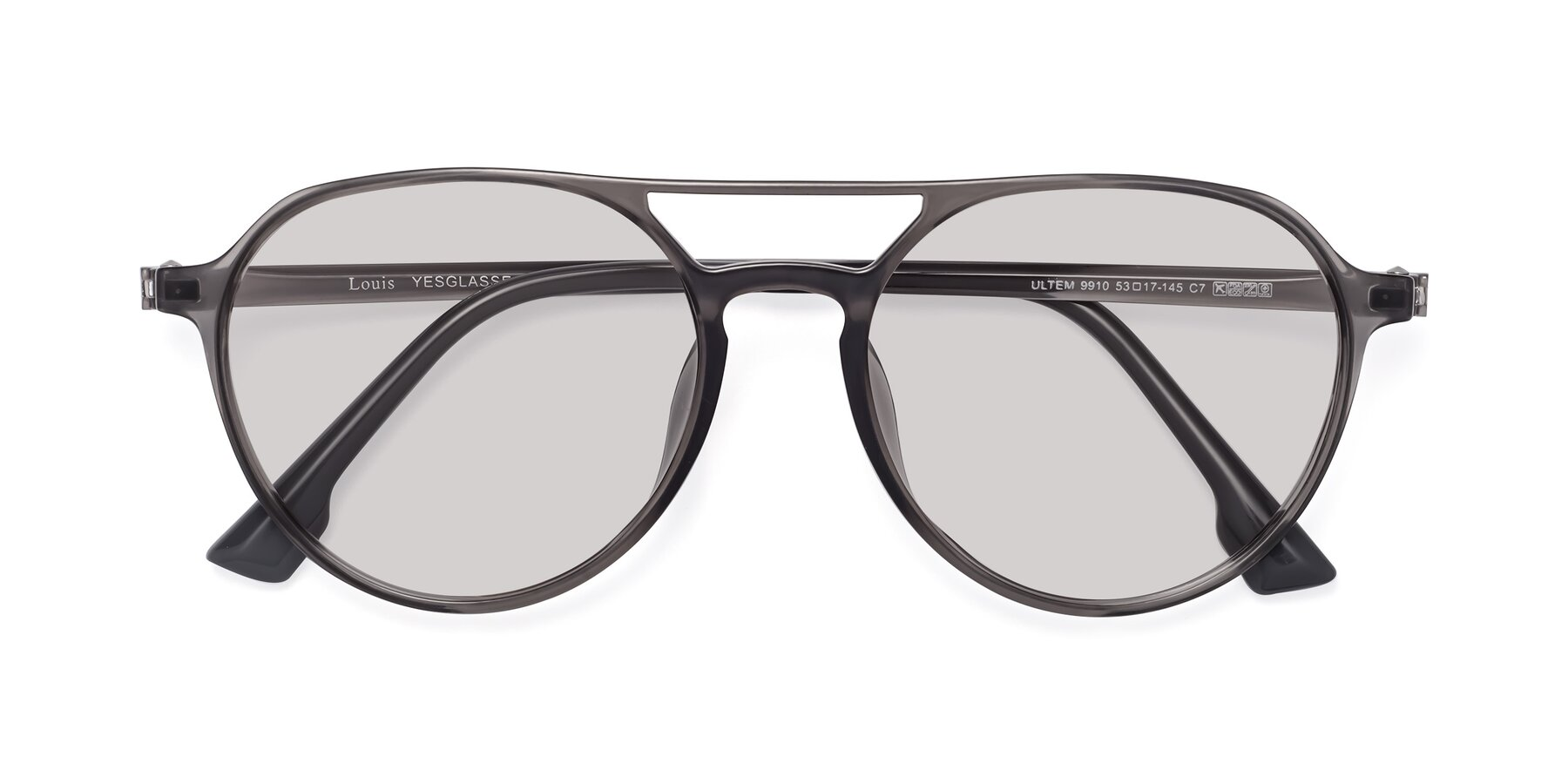 Folded Front of Louis in Gray with Light Gray Tinted Lenses