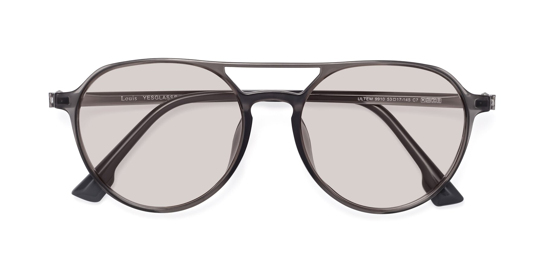Folded Front of Louis in Gray with Light Brown Tinted Lenses