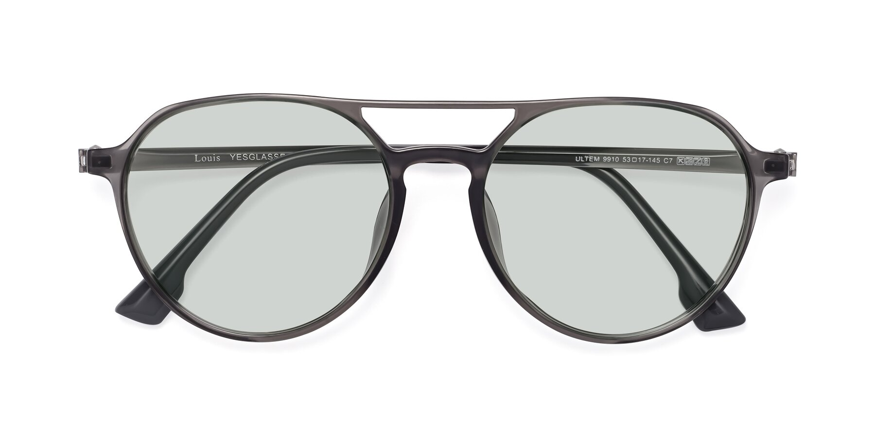 Folded Front of Louis in Gray with Light Green Tinted Lenses