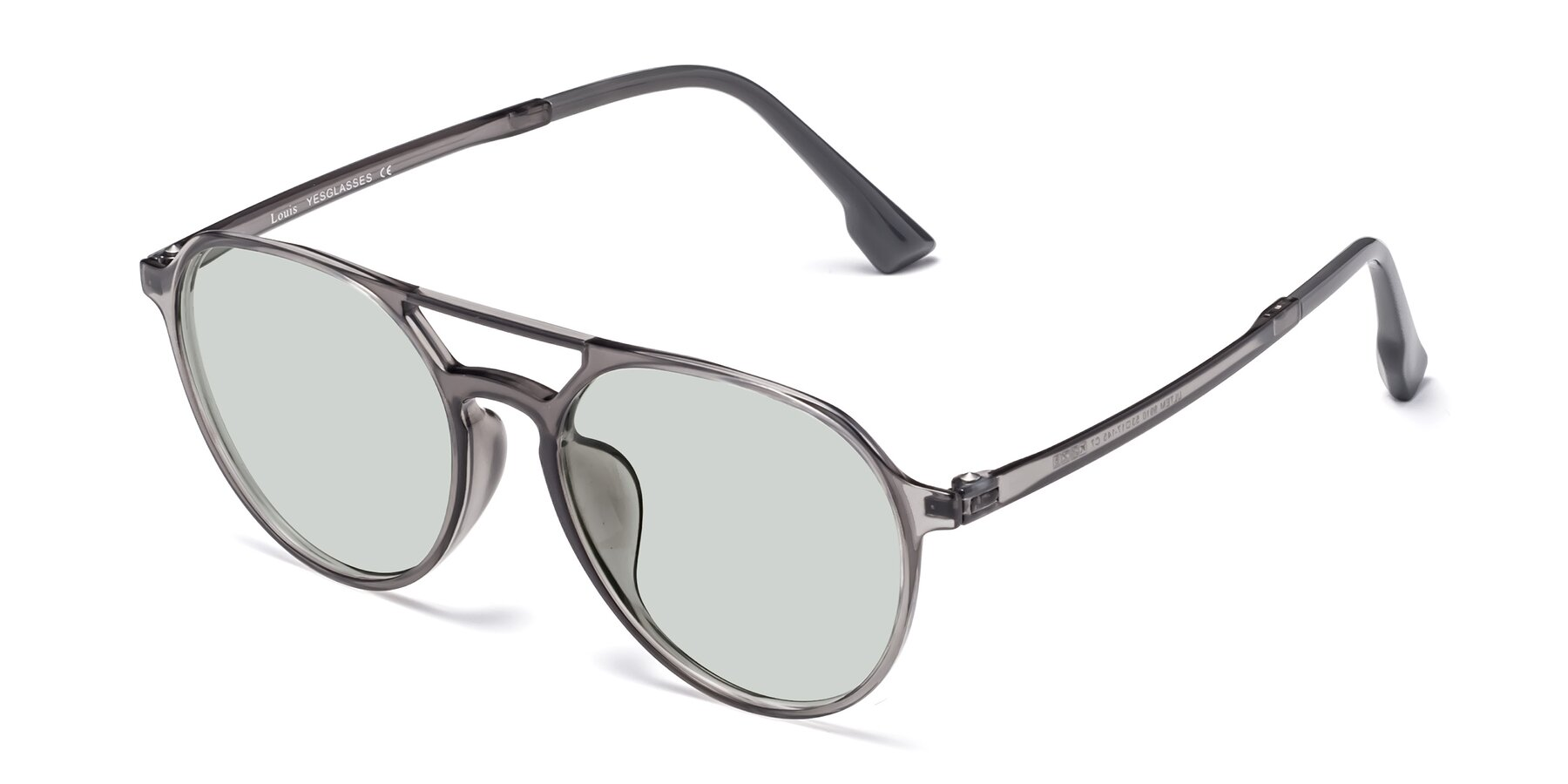 Angle of Louis in Gray with Light Green Tinted Lenses