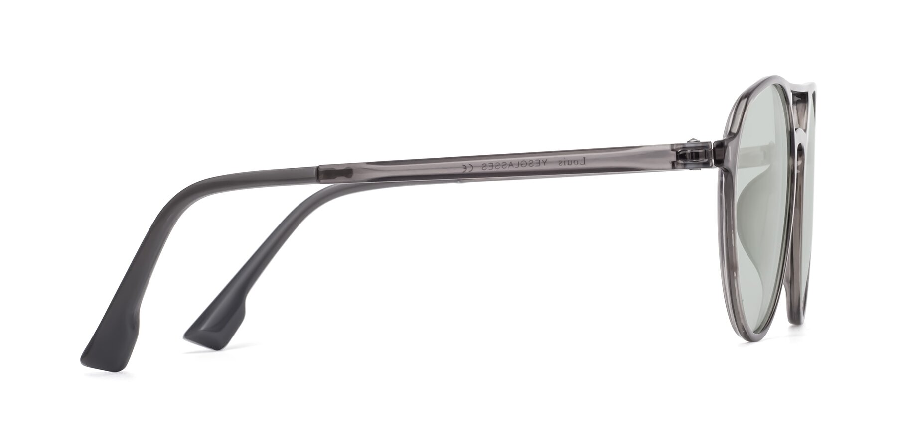 Side of Louis in Gray with Light Green Tinted Lenses