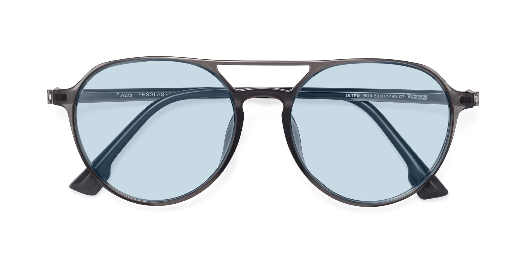 Folded Front of Louis in Gray with Light Blue Tinted Lenses