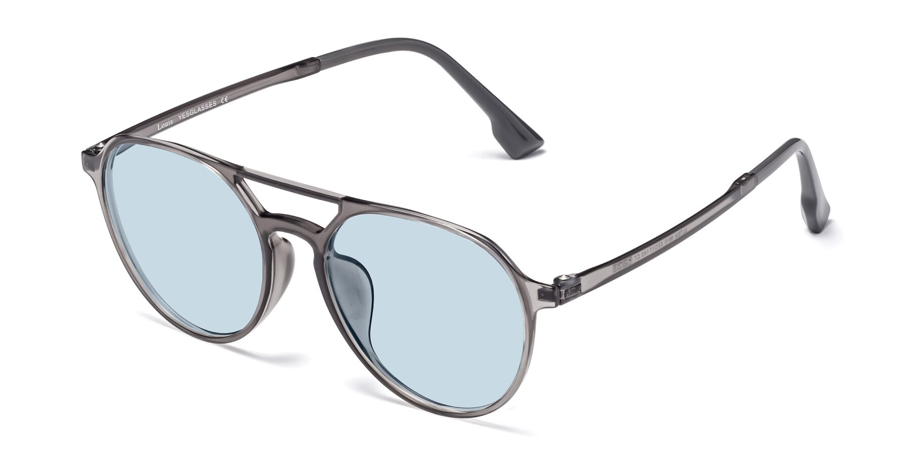 Angle of Louis in Gray with Light Blue Tinted Lenses