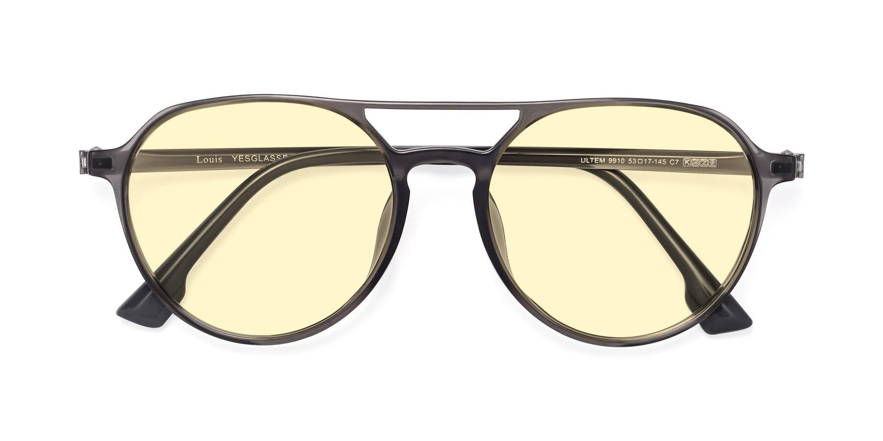 Folded Front of Louis in Gray with Light Yellow Tinted Lenses