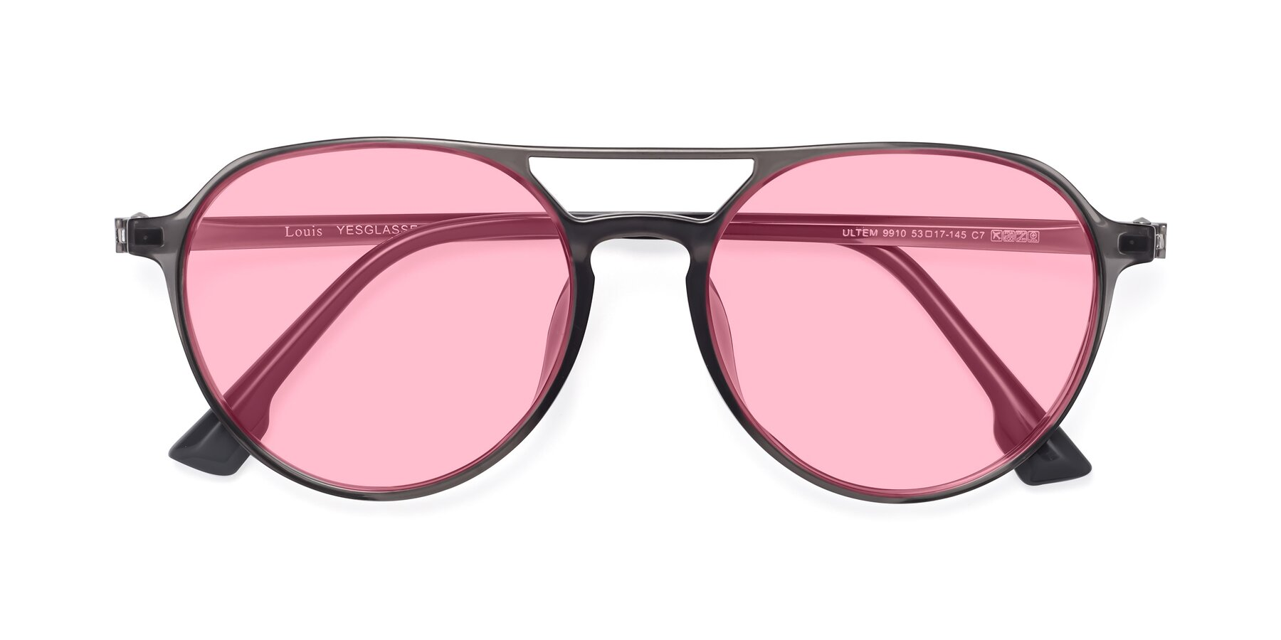 Folded Front of Louis in Gray with Medium Pink Tinted Lenses