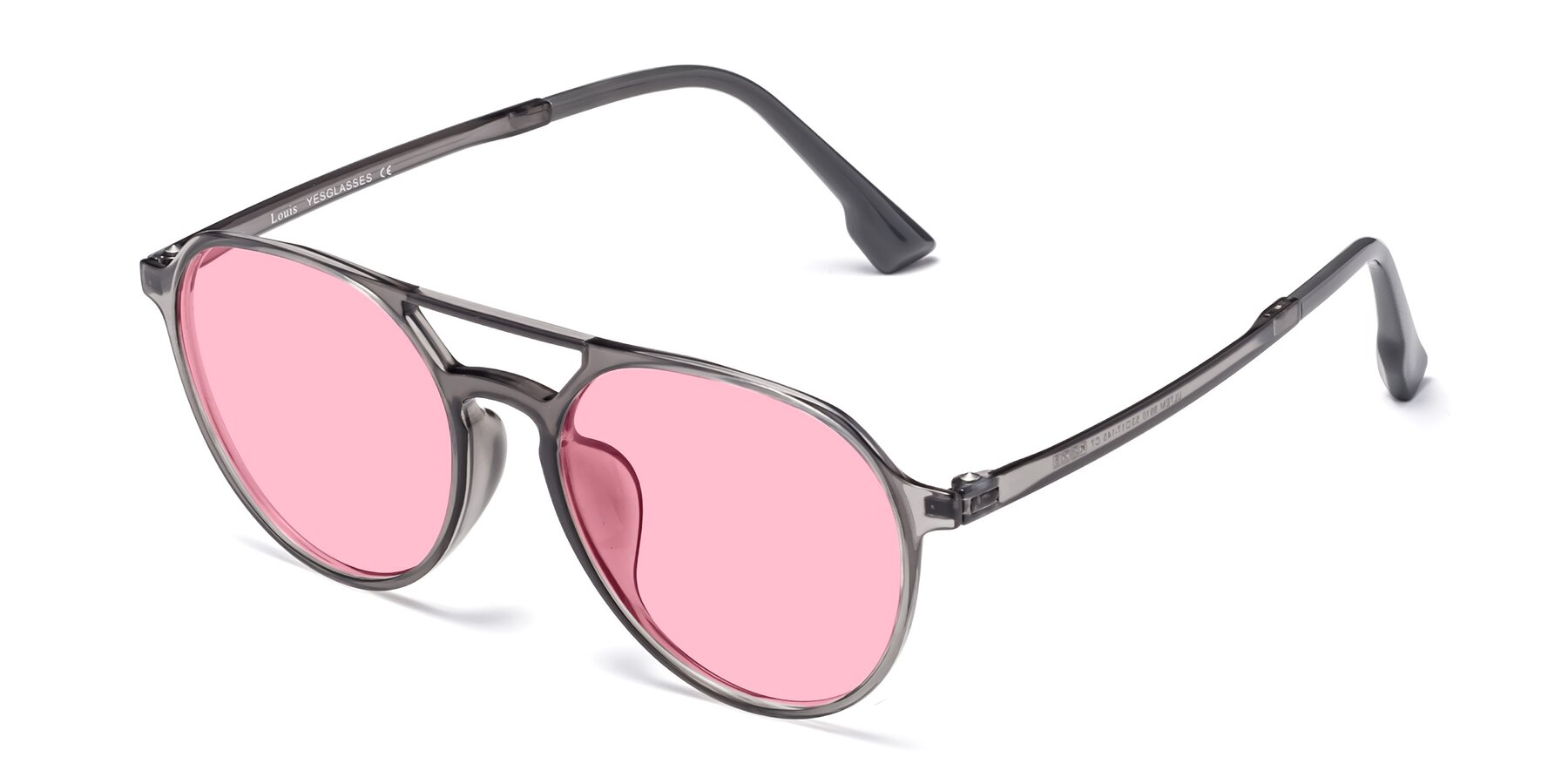 Angle of Louis in Gray with Medium Pink Tinted Lenses