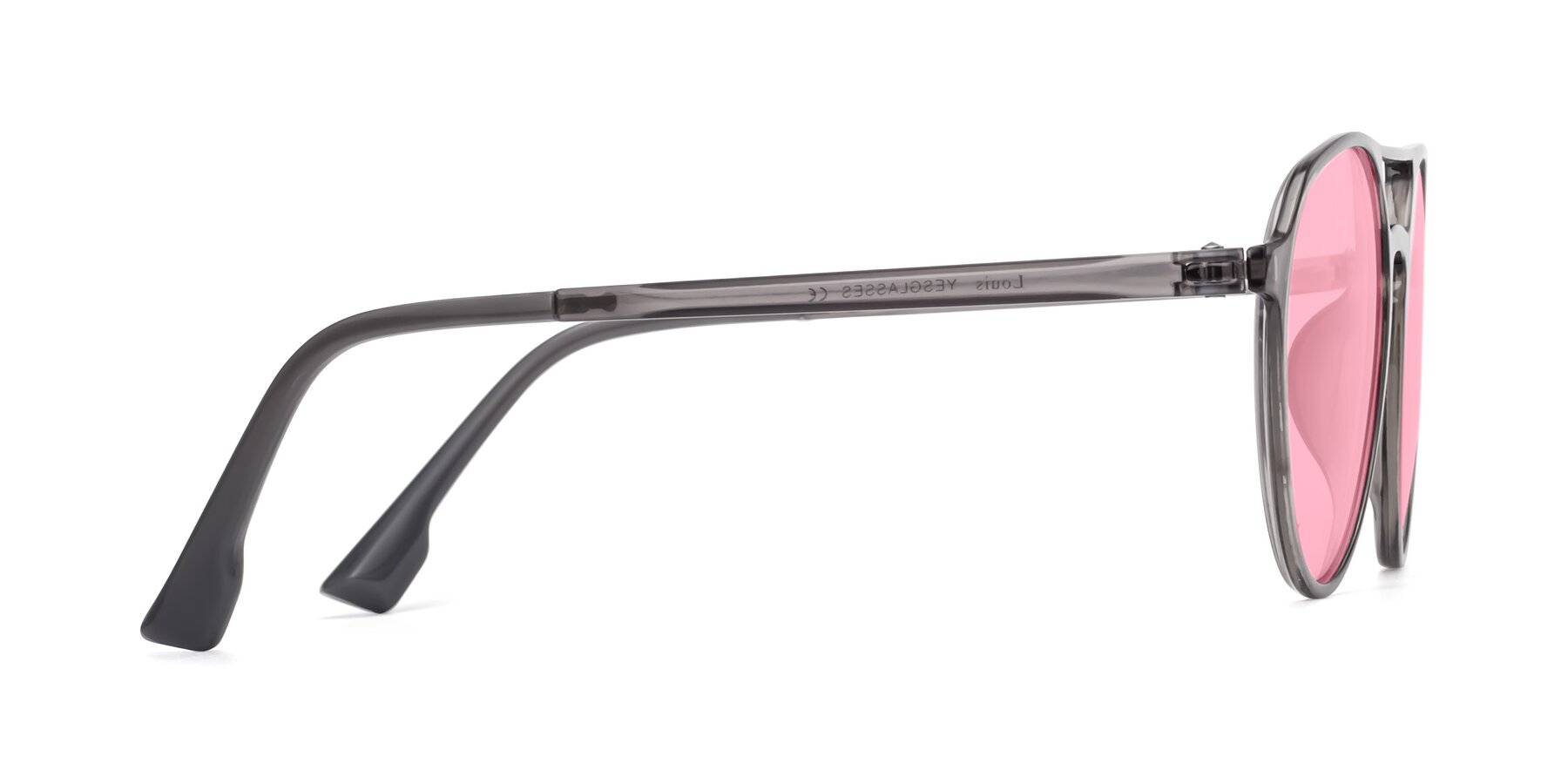 Side of Louis in Gray with Medium Pink Tinted Lenses